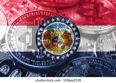 Missouri bitcoin flag, Missouri cryptocurrency concept background