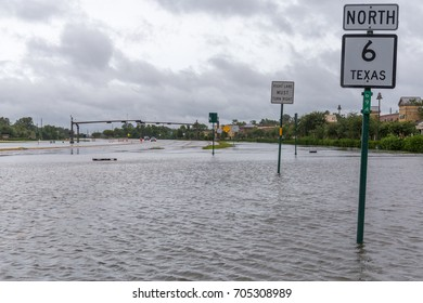 Missouri City, Texas - August 29, 2017: Fooded State Highway 6. Heavy rains from hurricane Harvey caused many flooded areas near Houston, many roads and highways are impassable