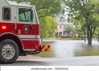 Missouri City, Texas - August 29, 2017: The first responders from Missouri City Fire Station 4 inspect flooded houses in Sienna Plantation. Harvey caused many flooded areas in Houston and its suburbs