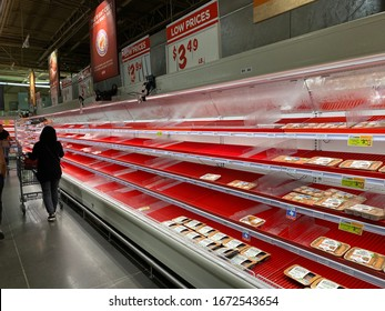 Missouri City, Texas - March 13, 2020: Local grocery stores are low on goods due to panic buying after the US government announced the national health emergency