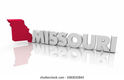 Missouri MO Red State Map Word 3d Illustration