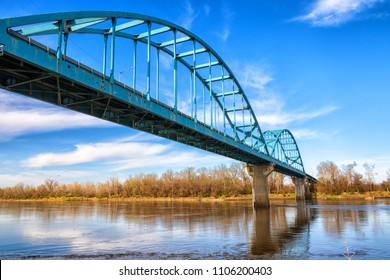 Missouri river bridge at Leavenworth Kansas