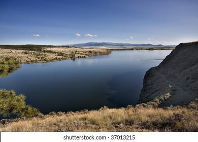 Missouri River near Helena Montana, arid landscape.
