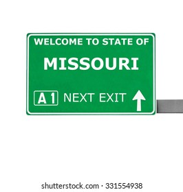 MISSOURI road sign isolated on white