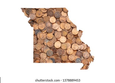 Missouri State Map and Money Concept, Piles of Coins, Pennies