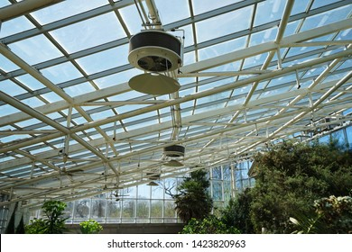 MISSOURI,UNITED STATES-APRIL 12,2019:Interior architecture and ceiling roof design of Climatron geodesic conservatory dome at 'MISSOURI BOTANICAL GARDEN' -Saint Louis town, MO