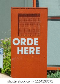 Misspelled Order Here Sign In Fast Food Drive Through Lane