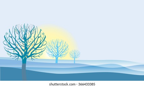 Mist blue illustration of landscape with Autumn trees and yellow sunrise