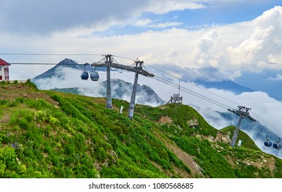 Mist cable car road in Rosa Khutor in Sochi