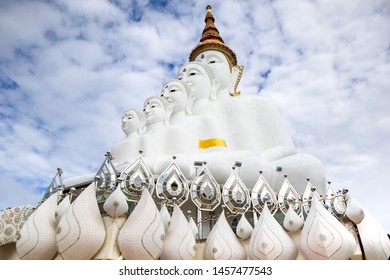 Mist Clound on Pha Hid Kaew Temple Buddha of Buddhism on blue sky and clound backgorund,Khao Kho, Phetchabun Province, Thailand.