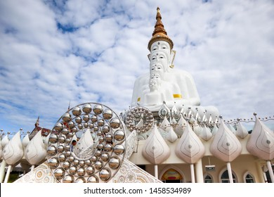 Mist Clound on Pha Hid Kaew Temple Buddha of Buddhism on blue sky and clound backgorund