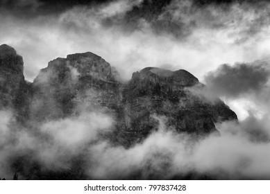 mist covered mountain peaks