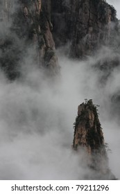 Mist covering mount Huangshan, China