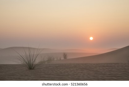 Mist in a desert at sunrise near Dubai, UAE