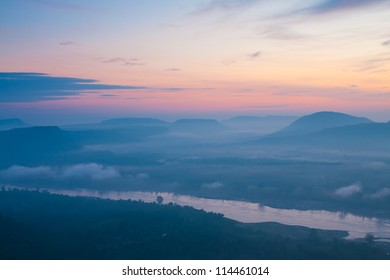 The beautiful�Sunrise�on mist, Dong Na Tham national park,�Thailand.