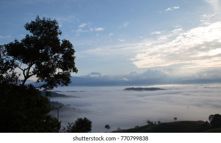 mist in morning Doi Mae Tho Viewpoint Mae Chaem is a district of Chiang Mai Province in northern Thailand.