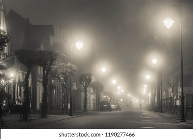 Mist at night in the city