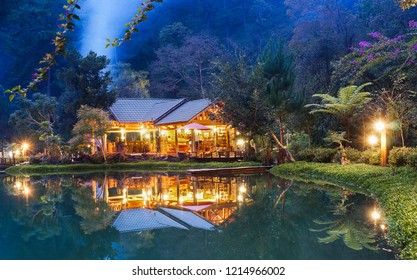 A mist night of Homestay Ma Rung Lu Quan in pine forest at DA LAT, LAM DONG PROVINCE, VIETNAM, OCT 2018.