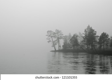 Mist over frozen lake, captured in Finland.