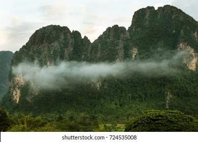 Mist over the mountain in north of Lao.