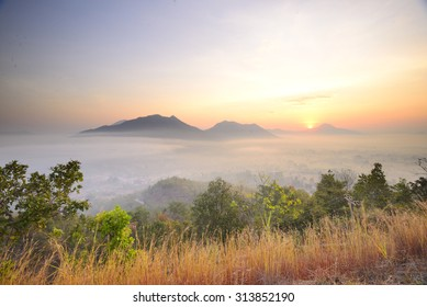 Mist over the mountains at Chiang Khan, Thailand