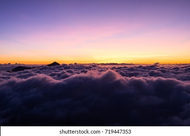 """Mist over the mountaintop at """"Doi Pha Tang"""" Chiang Rai, Thailand in the sunrise scenery."""