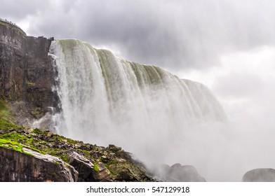 The mist rises from Niagara Falls.