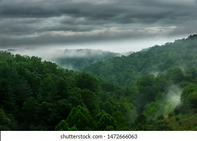 Mist rising from the Allegheny Mountains of  West Virginia along Interstate 79 North, USA