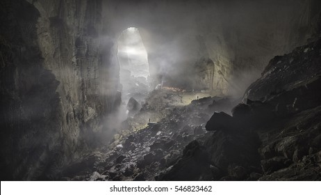 Mist rising inside Son Doong, the world's largest cave, in Vietnam