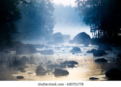 Mist Rising over Shallow River