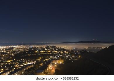 Mist in San francisco at night, San Francisco, California.