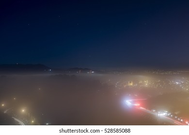 Mist in San Francisco at night, from Twin Peaks, in San Francisco, California.