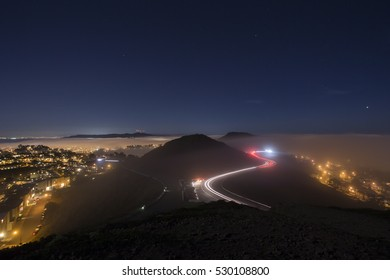 Mist in San Francisco from twin peaks, San Francisco, California, USA.