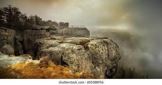 Mist at Szczeliniec Wielki - Shutterstock ID 605388956