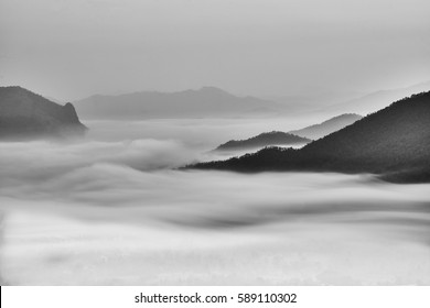 mist in valley like a Chinese painting picture