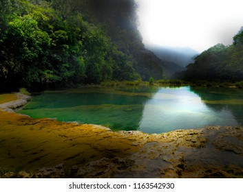 Mist up the valley in Semuc Champey Guatemala