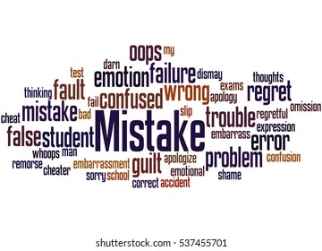 Mistake, word cloud concept on white background.