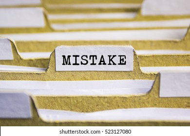 Mistake word on card index paper