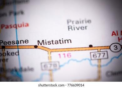 Mistatim. Canada on a map.