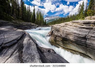 The Mistaya River becomes Mistaya Canyon, Banff National Park, Alberta.