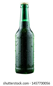 misted beer bottle green color isolated on white background