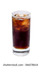 Misted glass with a glass of Coke, Pepsi, rum, cocktai, alcohol ice cubes on a white background.