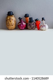 Mister potato red onion beetroot garlic pepper carrot. Old fashion style characters plants, serious faces and black hats. Gray background. copy space.