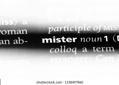 mister word in a dictionary. mister concept.