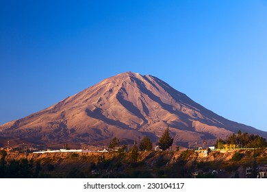 The Misti Volcano, which is a symbol of the closeby city of Arequipa in Southern Peru, lit by the evening sun