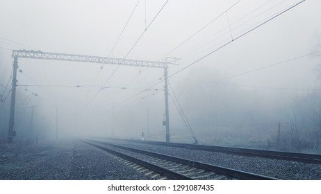 mistical fog on the railroad in the morning