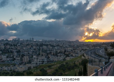 The mistical sunset over Jerusalem seen from Augusta Victoria Compound - a church-hospital complex located on the southern side of Mount of Olives mountain, Jerusalem, Israel