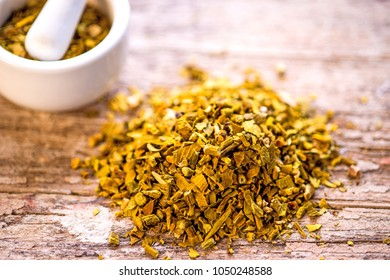 mistletoe, medicinal herb dried with mortar