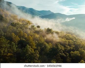 Misty aerial drone shot of Pisgah National Forest wilderness. View from above Asheville, North Carolina.