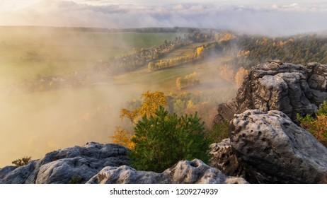 Misty autumn landscape